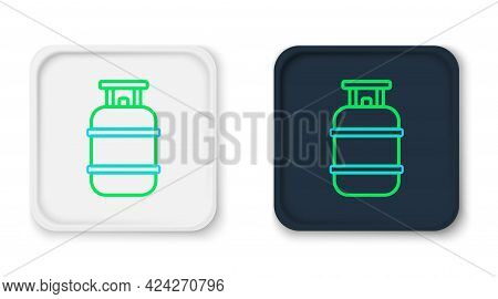 Line Propane Gas Tank Icon Isolated On White Background. Flammable Gas Tank Icon. Colorful Outline C