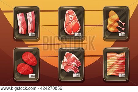 Top View Of Meat Counter With Trays Of Chicken Legs Chops Loin Brisket In Cartoon Style Flat Vector