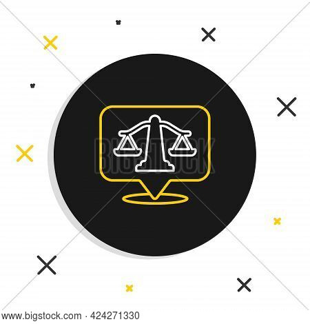 Line Scales Of Justice Icon Isolated On White Background. Court Of Law Symbol. Balance Scale Sign. C