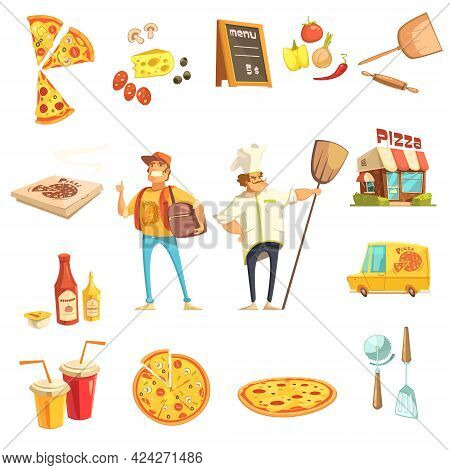 Pizza Making Decorative Icons Set With Chef Courier Restaurant Menu And Pizza Ingredients Flat Vecto