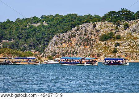 Dalyan River, Turkey - April 29, 2012: Pleasure Boats With Tourists
