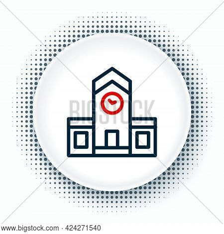 Line Railway Station Icon Isolated On White Background. Colorful Outline Concept. Vector