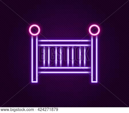 Glowing Neon Line Baby Crib Cradle Bed Icon Isolated On Black Background. Colorful Outline Concept.