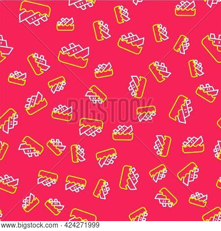 Line Sinking Cruise Ship Icon Isolated Seamless Pattern On Red Background. Travel Tourism Nautical T