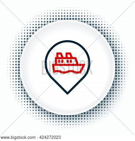 Line Location With Cruise Ship Icon Isolated On White Background. Travel Tourism Nautical Transport.