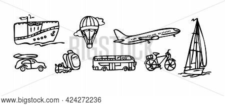Linear Travel And Tourism Icons. Transport For Tourism And Travel. Airplane, Ship, Bicycle, Car, Bal