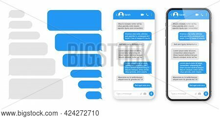 Realistic Smartphone With Messaging App. Blank Sms Text Frame. Chat Screen With Blue Message Bubbles
