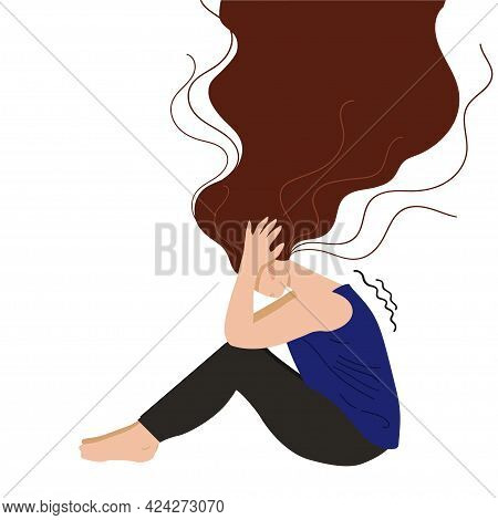Depressed Young Unhappy Girl Sitting And Holding Her Head. Concept Of Mental Disorder. Colorful Vect