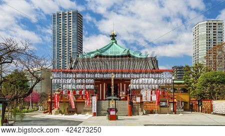 Tokyo, Japan - March 12: Benten-do With Traditional Paper Lanterns, A Buddhist Temple In The Center