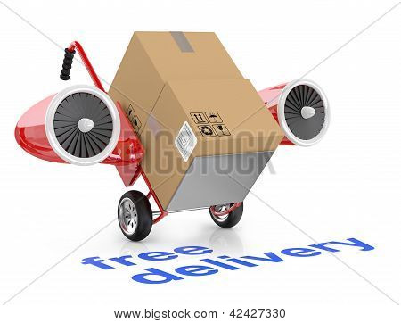 Free Delivery Concep. Hand Truck And Carboard Boxes.