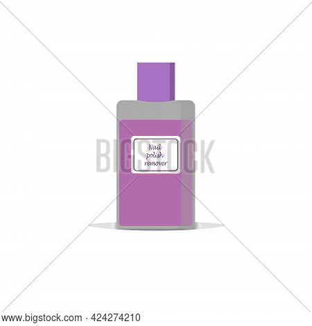 Nail Polish Remover In A Bottle. Means For Nail Care. Vector Illustration For Nail Salons, Cosmetics