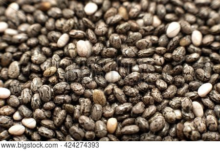 Chia Seeds. Chia Seeds In Close-up. Slimming & Health Care Product