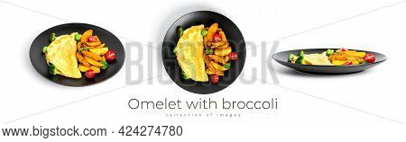 Omelet With Broccoli And Baked Potatoes Isolated On A White Background.
