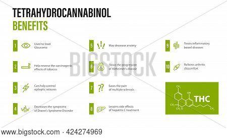 Tetrahydrocannabinol Benefits, White Modern Poster With Benefits With Icons And Tetrahydrocannabinol