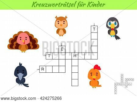 Crossword For Kids In German With Pictures Of Birds. Educational Game For Study German Language And