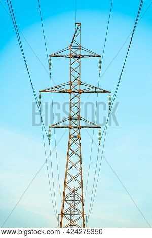 Production Of Fuel And Electricity.electrical Networks With Wires And Transformers At Sunset.power T