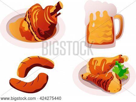 Tradition Bavarian Food .pork Knuckle,beer,sausages And Chicken Legs.vector Illustration For Oktober