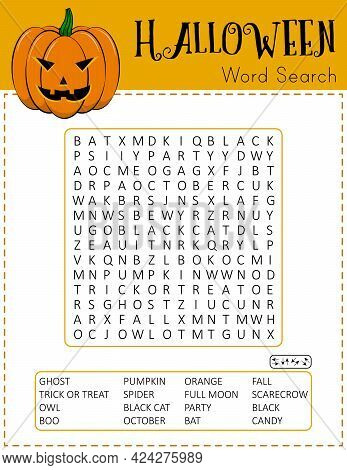Halloween Word Search Puzzle. Educational Game For Kids. Funny Holiday Crossword. Printable Festive