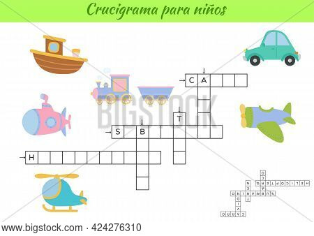 Crossword For Kids In Spanish With Pictures Of Transport. Educational Game For Study Spanish Languag