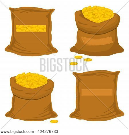 Illustration On Theme Big Colored Set Different Types Bags, Full Sack Of Coins. Sack Pattern Consist