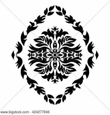 Black Damask Element In Classic Style On White Background. Royal Template. Silhouette Vector. Vector