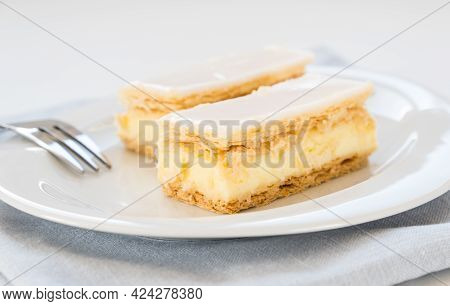 Traditional Swiss Custard Slice With Icing (cremeschnitte In German), Close Up