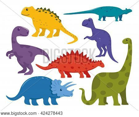 Dinosaur Big Set. Collection Of Prehistoric Jurrasic Period Wild Fauna. Cute Colorful Dinosaurs In C
