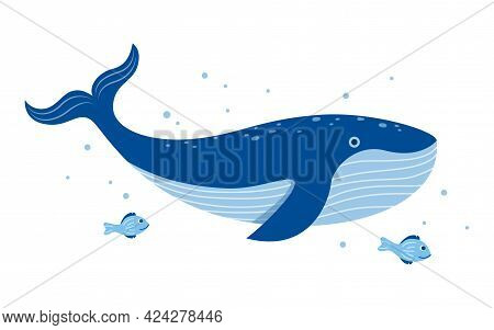 Cute Whale Print Design With Little Fishes. Vector Illustration Design For Fashion Fabrics, Textile