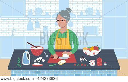 Senior Smiling Caucasian Woman Preparing A Meal. Flat Style Vector Illustration.
