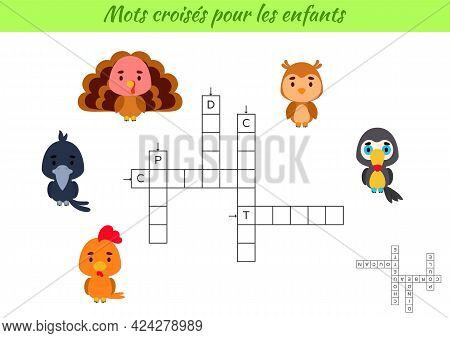 Crossword For Kids In French With Pictures Of Birds. Educational Game For Study French Language And