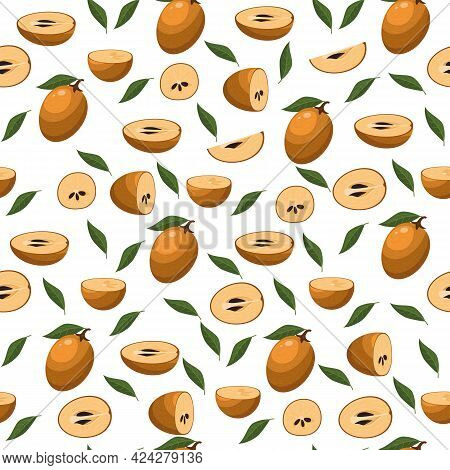 Seamless Pattern With Fresh Sapodilla Fruits Isolated On White Background. Summer Fruits For Healthy