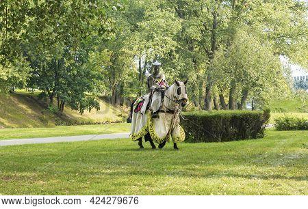 Knight In Armor On Horseback. Knight In Armor, Minsk, Belarus, September 8, 2018 City Celebration