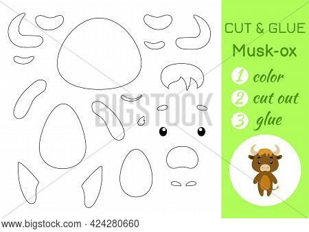 Color, Cut And Glue Paper Little Musk-ox. Cut And Paste Crafts Activity Page. Educational Game For P
