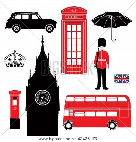 Uk - London Symbol  -  Icons - Silhouette - Stencil -  Illustration