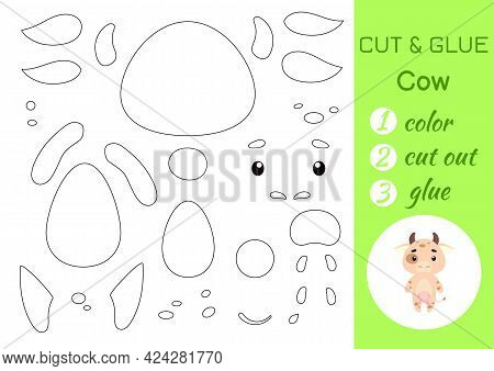 Color, Cut And Glue Paper Little Cow. Cut And Paste Crafts Activity Page. Educational Game For Presc