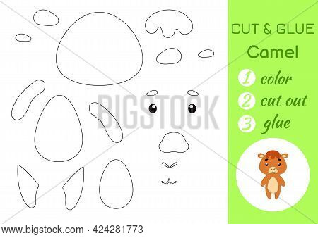Color, Cut And Glue Paper Little Camel. Cut And Paste Crafts Activity Page. Educational Game For Pre