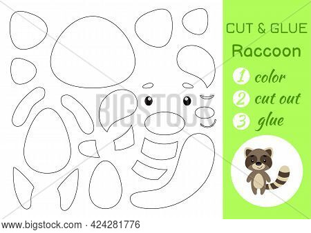 Color, Cut And Glue Paper Little Raccoon. Cut And Paste Crafts Activity Page. Educational Game For P