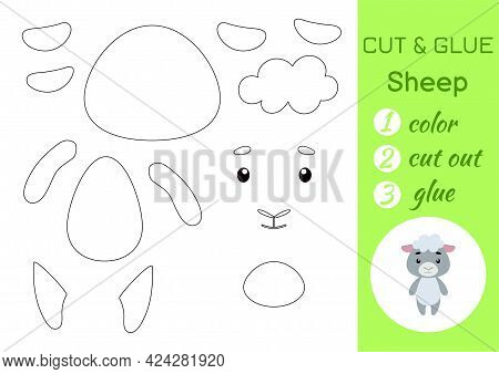 Color, Cut And Glue Paper Little Sheep. Cut And Paste Crafts Activity Page. Educational Game For Pre