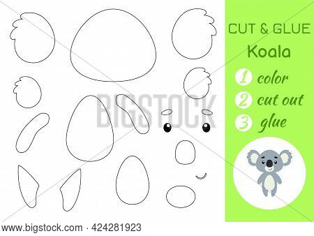 Color, Cut And Glue Paper Little Koala. Cut And Paste Crafts Activity Page. Educational Game For Pre