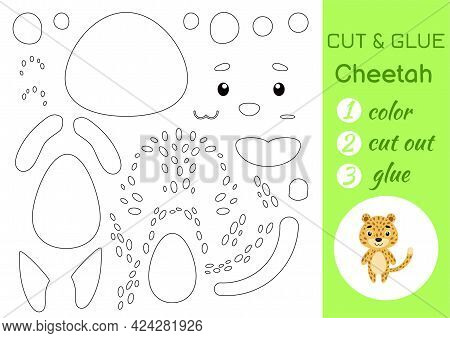 Color, Cut And Glue Paper Little Cheetah. Cut And Paste Crafts Activity Page. Educational Game For P