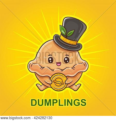 Funny Dumplings In Hat. Pelmeni Or Ravioli Cartoon Character With Gold Coin. Delicious Cooked Dish.