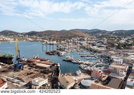 Syros Island, Greece, Aerial Drone View. Saiboats Moored At Ermoupolis Port Dock, Yachts Marina.