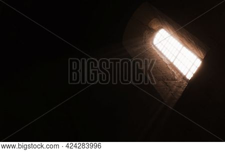 Dark Church Interior With Glowing Window, Abstract Religious Background