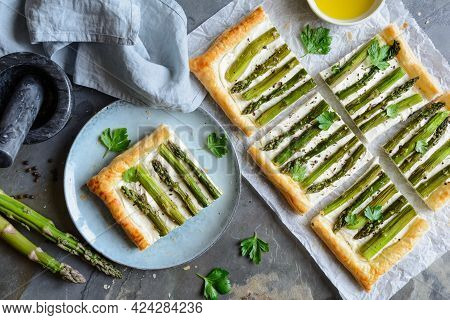 Asparagus And Cream Cheese Puff Pastry Tart