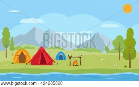 Countryside Summer Camping Landscape. Mountains, Lake Or River, Trees, Camping Tents And Bonfire. Tr
