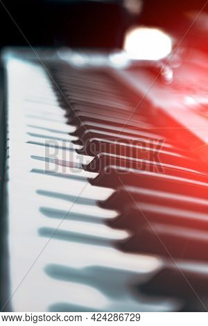 Electric Piano Keys And Music Production Concept.closeup Piano