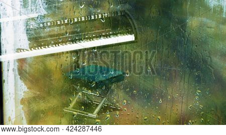 Piano Behind The Window With Water Drops On A Rainy Day.relax Music For Travel Road.piano Music Conc
