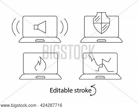 Computer Problems Outline Icons Set. Bad Sound. Notebook Damage. Computer Repair Wizard