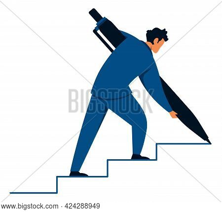 Flat Design Concept Illustration With Businessman Creating Stairs For Himself On His Way To Success