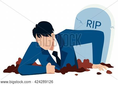 Flat Design Concept Illustration With Businessman Digging Himself Out Of His Grave, As A Metaphor Fo